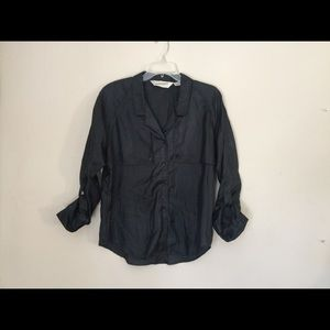 Vintage DVF Black Button-Front Blouse 10
